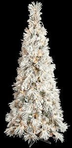 Heavy Flocked Long Needle Pine Christmas Tree - 80 Pine Cones - 350 Clear Lights