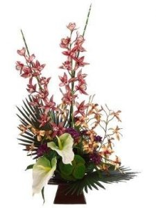 "EF-3611 36""Hx21""Wx22""L Fan Palm/Cymbidium/Anthurium in Ceramic Container Watermelon H"