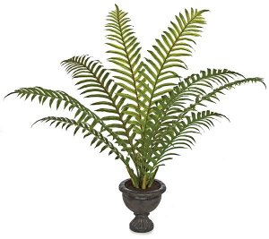 P-113615  4' Potted Sword Palm - Soft Touch -9 Fronds - Black Urn