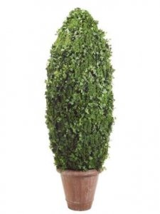 EF-485  8' Cone-Shaped Grass/Ivy Leaf Topiary in Polyresin Pot Green  Indoor/Outdoor