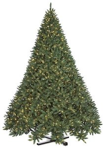 "C-110374  15' Maritime Pine Tree - Full - 7,838 Green PVC Tips - 3,250 Warm White 5mm LED Lights - 111"" Width - Black Metal Stand"