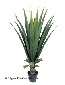 "EF-3307 48"" Agave Plant has 18 leaves and comes in a black plastic pot INDOOR/OUTDOOR"