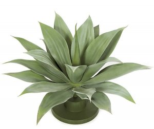 "AUV-102180 17"" Outdoor Plastic Agave Base Plant - 22 Green Leaves - 24"" Width"