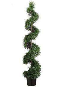 EF-036  6' Outdoor UV Protected Plastic Rosemary Spiral in Pot Green