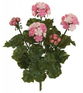 "A-144101 Polyblend (Plastic) UV Rated Outdoor Material 16"" Geranium Bush - 3 Flowers - 2 Buds - Tutone Pink -12"" Width - Bare Stem"