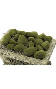 Plastic Moss Stone - 18 Pieces Per Bag - Green