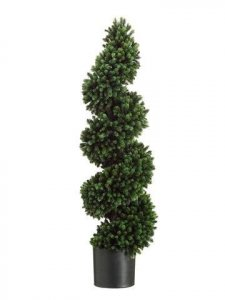 "36"" Outdoor Pine Spiral Topiary in Plastic Pot Green Indoor/Outdoor"