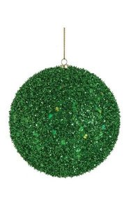 Tinsel/Sequined Ball Ornament - Green