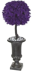 "W-110090 38"" Plastic Glittered Pine Ball Topiary"