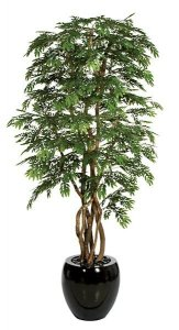 "8' Locust Tree - Natural Trunk - 12,960 Green Leaves - 42"" Width"