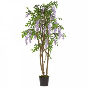 5' Wisteria Artificial Topiary - Natural Trunk - 1,377 Leaves - 25 Flowers - Lavender - Weighted Base