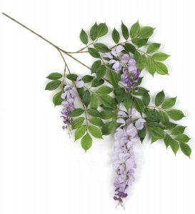 "27"" Wisteria Branch - 76 Leaves - 3 Flowers - Purple, Lavender"
