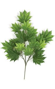 "29"" Full Moon Maple Branch - 18 Leaves - Green - FIRE RETARDANT"