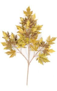 Rock Maple Branch - 32 Leaves - Mustard Green - FIRE RETARDANT