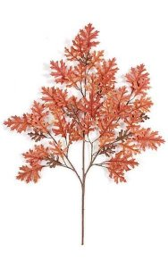 "38"" Pin Oak Branch - 55 Leaves - Orange - FIRE RETARDANT"