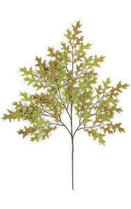 Small Pin Oak Branch - 81 Leaves - Green/Brown - FIRE RETARDANT