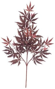 "30"" Maple Branch - 28 Leaves - Burgundy - FIRE RETARDANT"