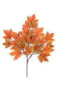 "29"" Sycamore Branch - 21 Leaves - Orange - FIRE RETARDANT"