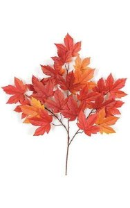 "29"" Sycamore Branch - 21 Leaves - Red/Orange/Gold - FIRE RETARDANT"