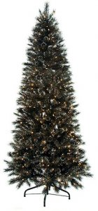 7.5' Black Glitter Pine Christmas Tree - Slim Size - 688 Tips - 400 Clear Lights