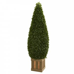 5' Outdoor Boxwood Cone Topiary Artificial Tree with Decorative Planter Shown