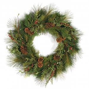 "30"" Sugar Pine Wreath - Red Crab Apples and Pine Cones"