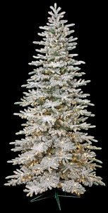7.5 Foot Medium Flocked Christmas Fir Tree with Glitter - 500 Warm White LED Lights