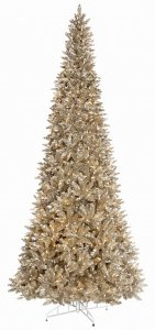 7.5' VINTAGE  Christmas Tree - Slim Size - Warm White LED Lights - Wire Stand