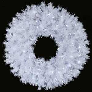 Blanca Pine Wreath - 300 White Tips - 100 Winter White LED Lights