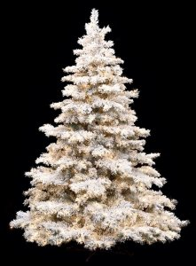 10' Heavy Flocked/Glittered Pine Christmas Tree - 1,400 Warm White LED Lights