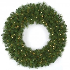 "48"" Mika Pine Wreath - 300 Green Tips - 150 Warm White LED Lights"