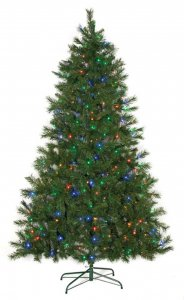 Noble Flat Christmas Tree - 300 Multi - Colored LED Lights - Wire Stand