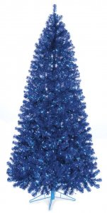 7.5' Dallas Pine - Slim Size - 550 Mini Blue Lights - Wire Stand