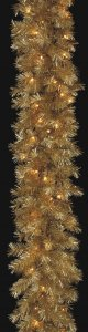 "6' Gold Laser Garland - 150 Gold Tips - 50 Clear Lights - 12"" Width"