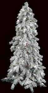 4' Flocked Carolina Pine Christmas Tree - Slim Size - 150 Warm White LED Lights