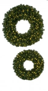 "60"" Virginia Pine Wreath - Triple Ring - 800 Green Tips - 200 Clear Lights"