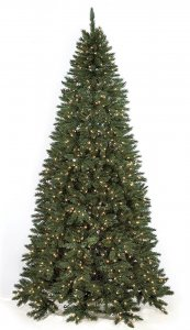 Pre Lit 7.5' Tall & 9' Tall Half Pine Christmas Tree Lays Flay Against Wall