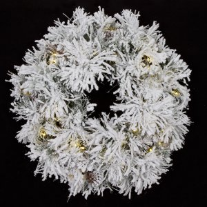 "34"" Flocked Pine Wreath - 110 Tips - 50 Warm White 5.5mm Lights"