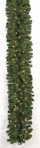 9' Mountain Pine Garland - 300 Green Tips - 150 Clear Lights