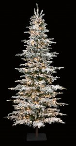 9' Flocked Laser Glitter Pine Christmas Tree - Slim Size - 650 Clear Lights