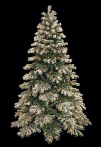 9' Flocked Mountain Pine Christmas Tree - Full Size - 800 Warm White LED Lights