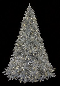9' Ashley Silver Christmas Tree - 2,880 Silver Tips - 800 Warm White 5mm LED Lights