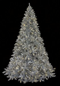 7.5' tall Ashley Silver Christmas Tree With Warm LED White Lights