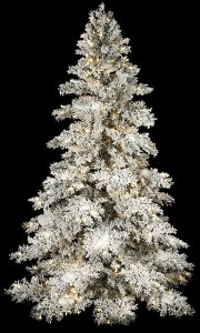 9' Heavy Flocked Snow Christmas Tree - Full Size - 650 Warm White LED Lights