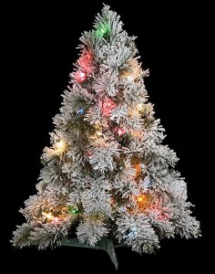 "30"" Flocked Mini Christmas Tree - Medium Flocked - 50 Multi - Colored Lights"