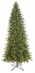 9' Spruce Christmas Tree - Slim Size - 800 Warm White LED Lights - Wire Stand