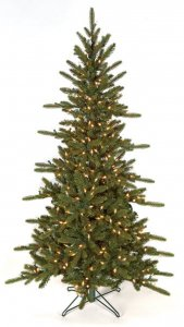 9' Russian Pine Christmas Tree - Slim Size - 1000 Warm White 5.5mm LED Lights