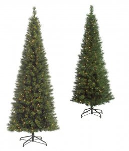 9' Pencil Pine Christmas Tree - Pencil Size - 700 Clear Lights - Wire Stand