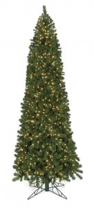 12' Virginia Pine Christmas Tree - Slim Size - 1,350 Clear Lights