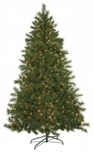 Noble Flat Christmas Tree - 602 Green Tips - 300 Clear Lights